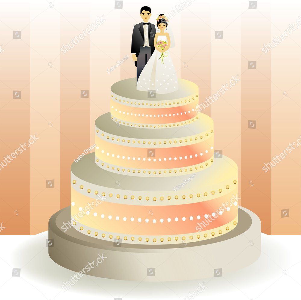 Wedding cake of three levels with groom and bride dolls | EZ Canvas