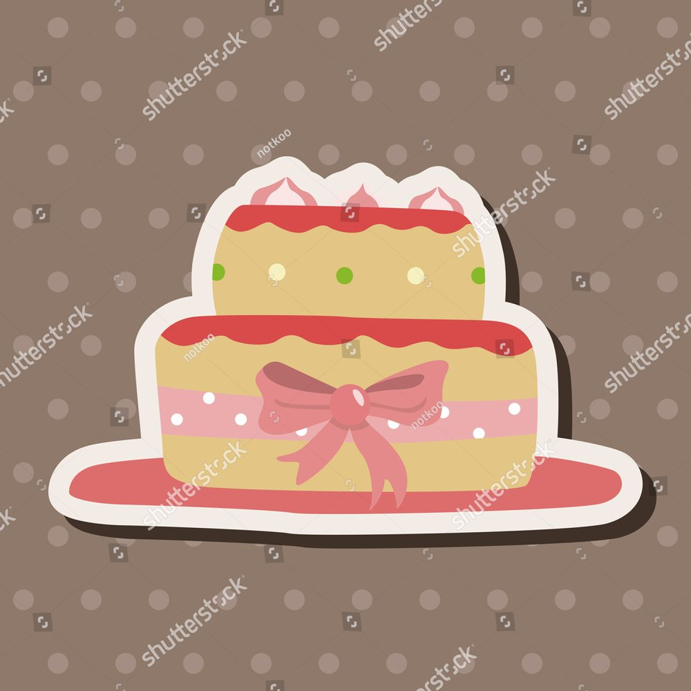 Vector hand drawn illustration of cake,text Happy Valentines Day on ...
