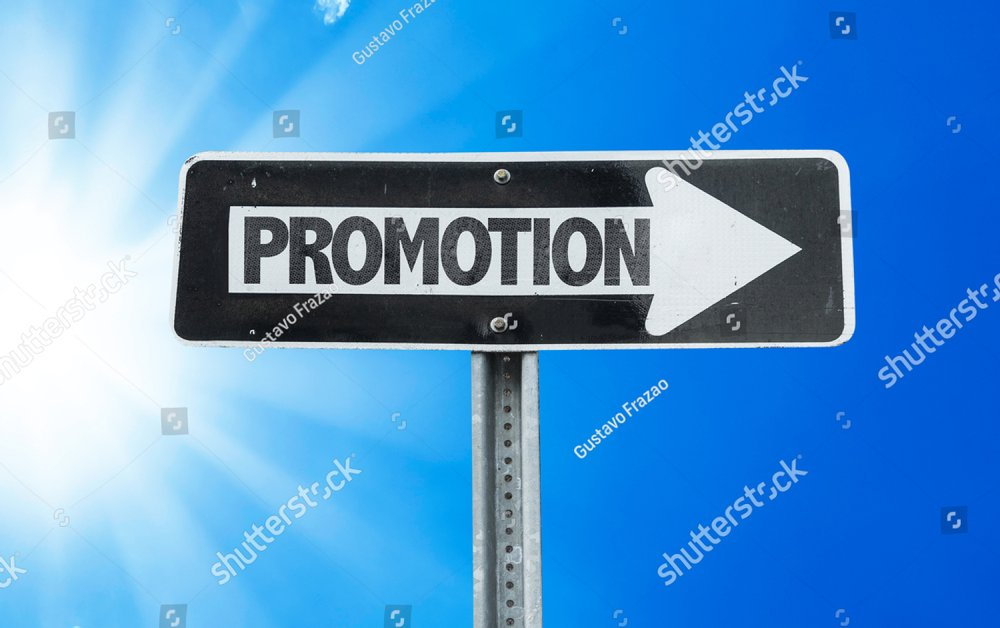 Promotion direction sign with a beautiful day