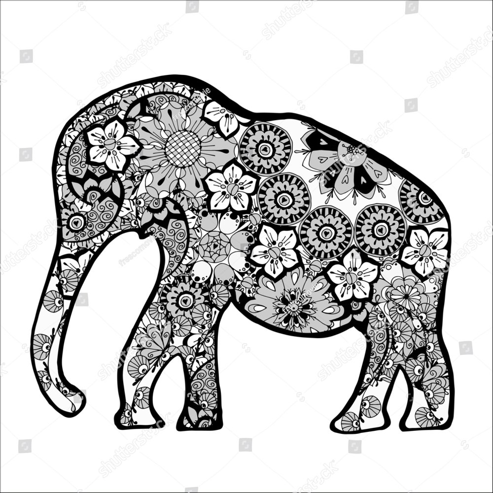 Adult coloring book,page of a elephant with ornamental background ...
