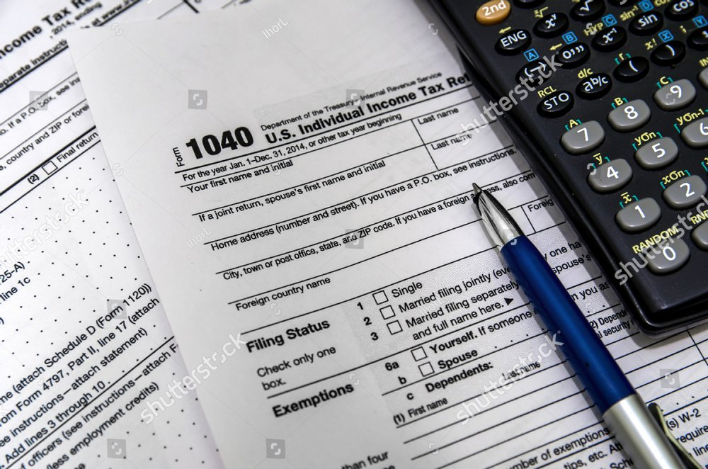 Us Tax Form 1040 With Pen And Calculator Ez Canvas