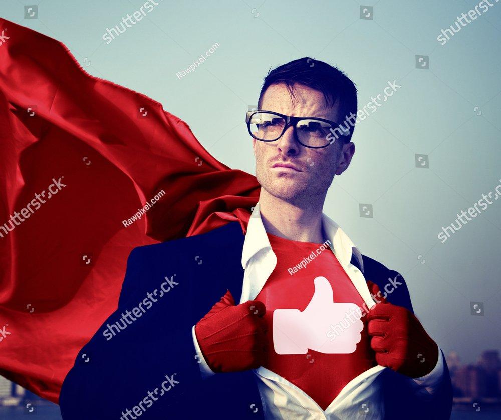 Like Share Facebook Hero Appreciate Superman Red Cape Presenter Concept