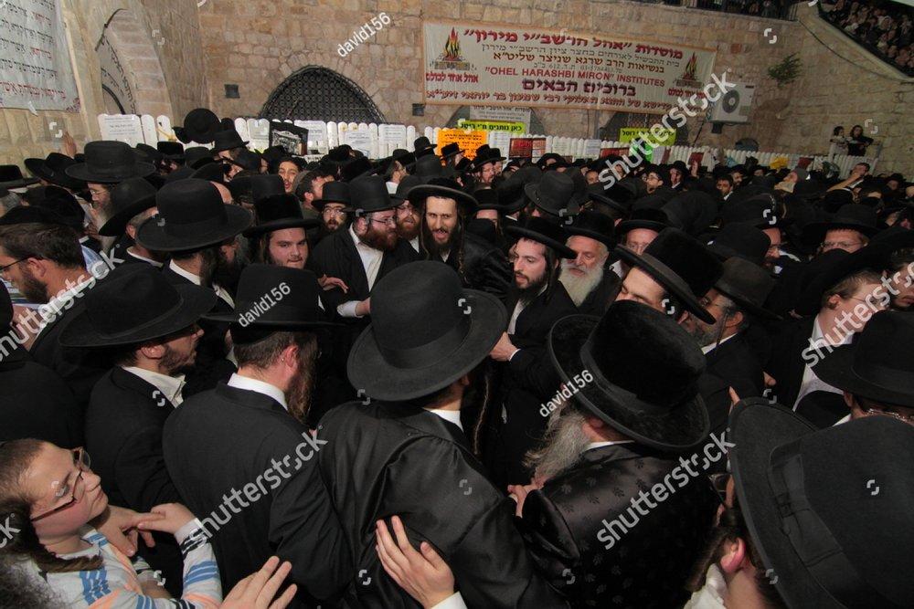 MERON, ISRAEL - MAY 07, 2015: Orthodox Jews pray at the
