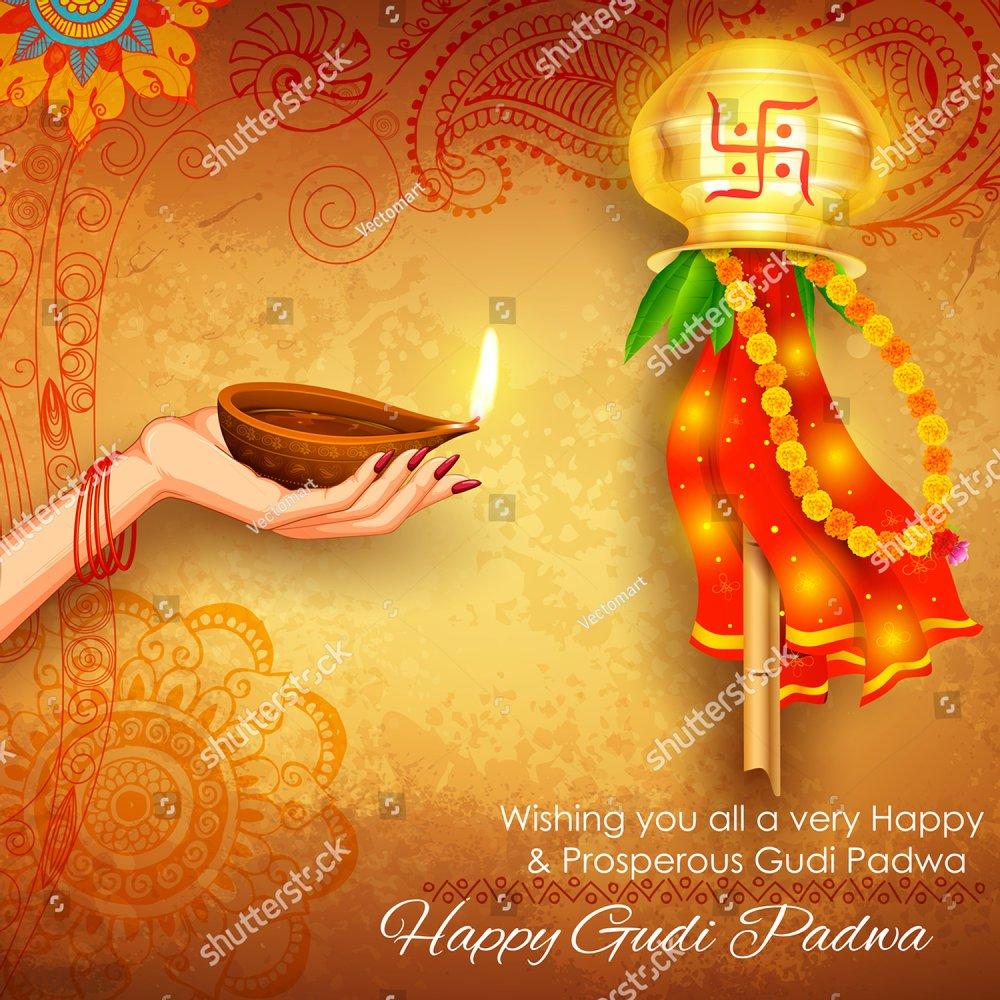 Illustration Of Gudi Padwa Lunar New Year Celebration Of India