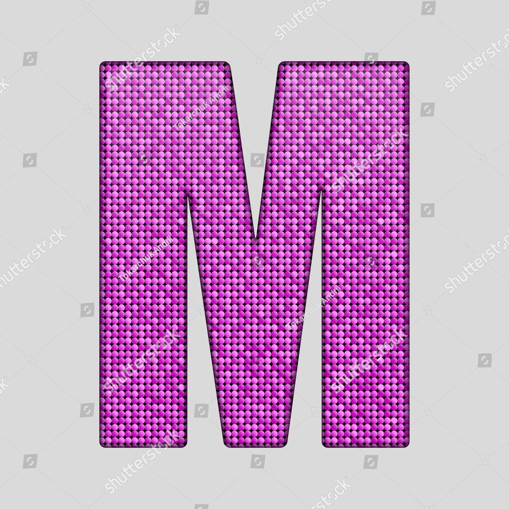 letter M, Eroded metal letters with paint | EZ Canvas