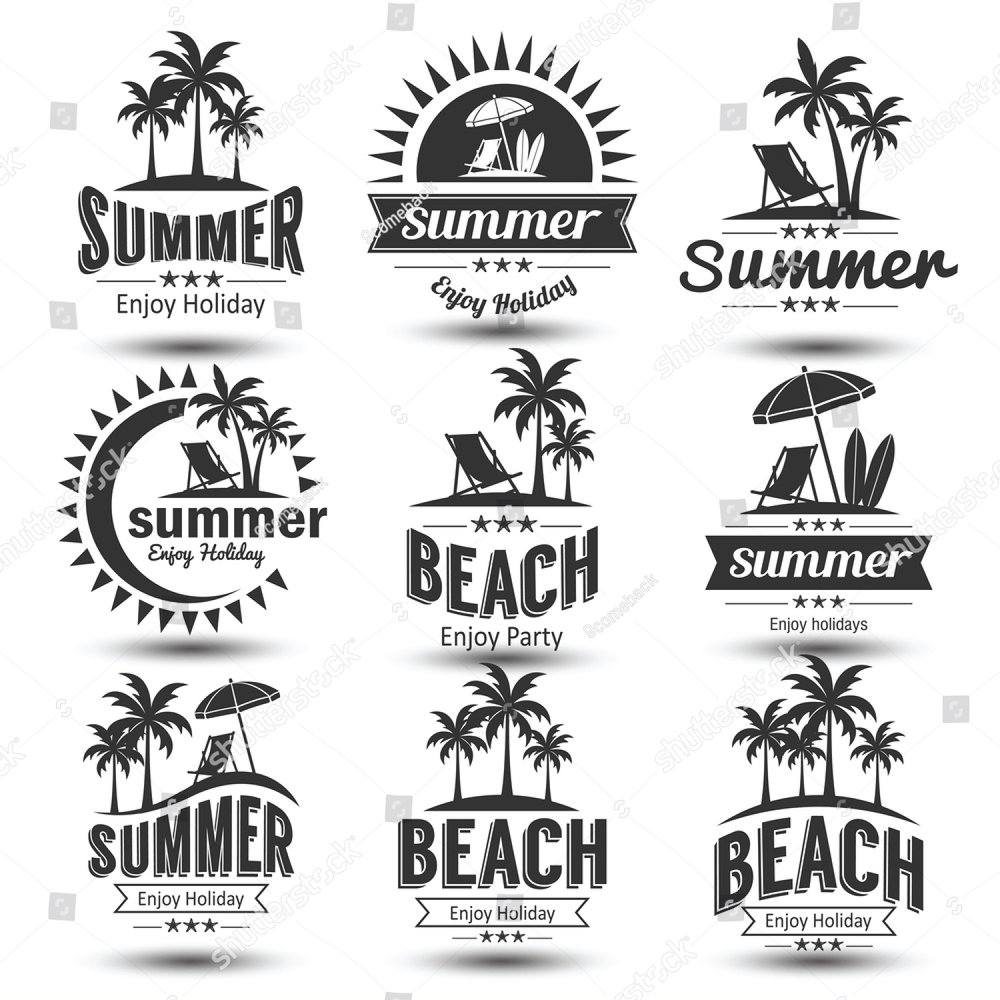 Summer holidays design elements set. Retro and vintage templates ...