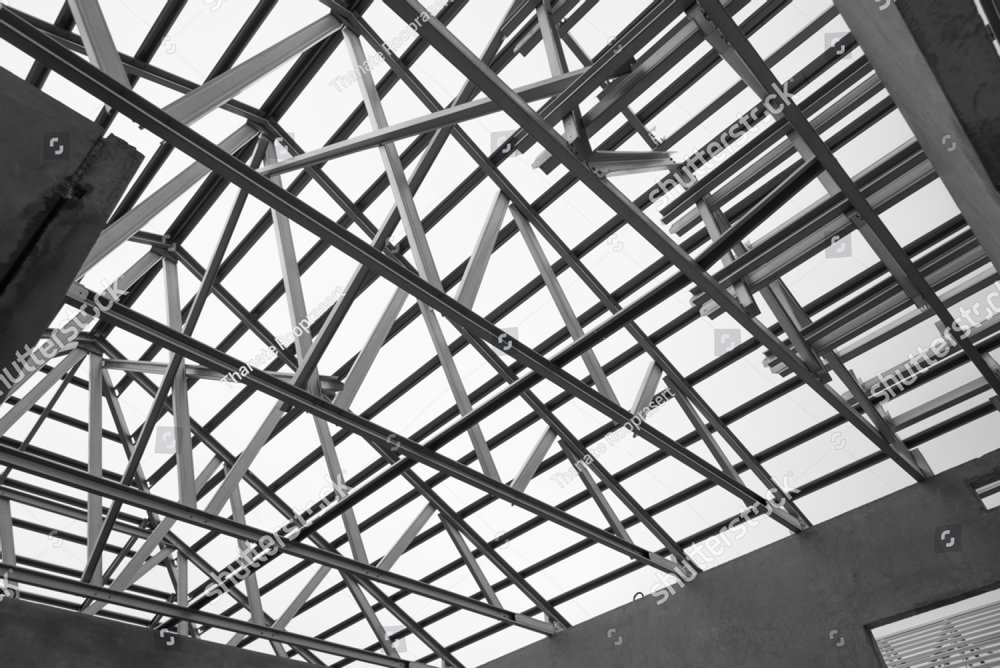 structure of steel roof frame for building construction black and Milling Beams structure of steel roof frame for building construction black and white photo ez canvas
