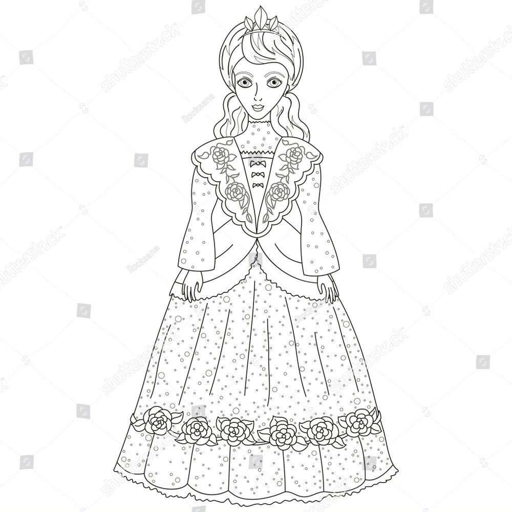 vector illustration of princess in ancient dress 19 of a century 1000 Century Clothing vector illustration of princess in ancient dress 19 of a century cute lady noblewoman coloring book page for children