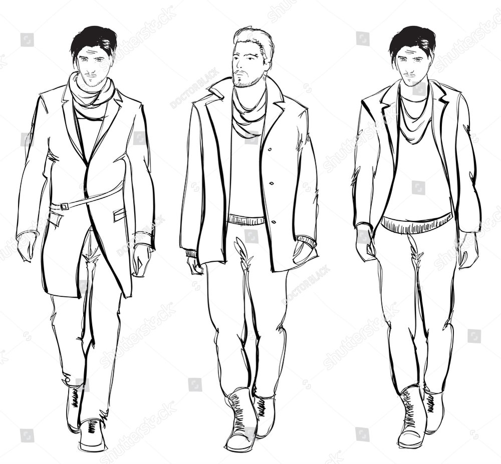 sketch casual wear for home fashion men minimal isolated on 20s Clothing Style sketch casual wear for home fashion men minimal isolated on white background ez canvas