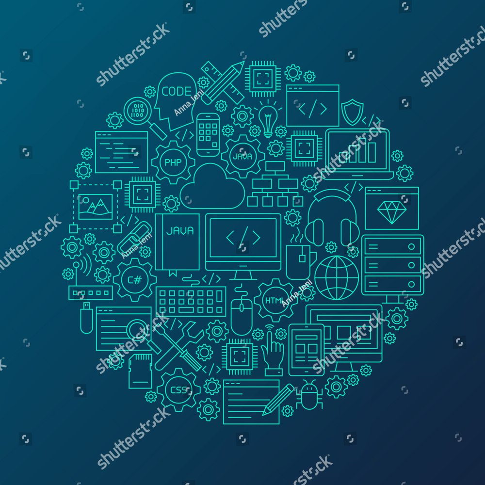 Programming Line Icons Circle Vector Illustration Of Coding Electronic Circuit Java Resources Outline Objects Ez Canvas