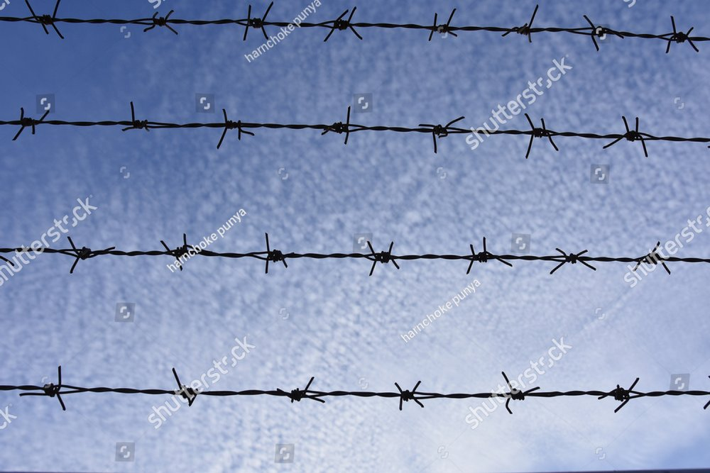 Barb wire , with blue sky and white cloud background | EZ Canvas