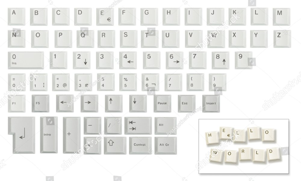 Alphabet, numbers and some other keyboard keys shot individually then cropped and combined in a single image, isolated on white. Meant as a design resource to compose messages.