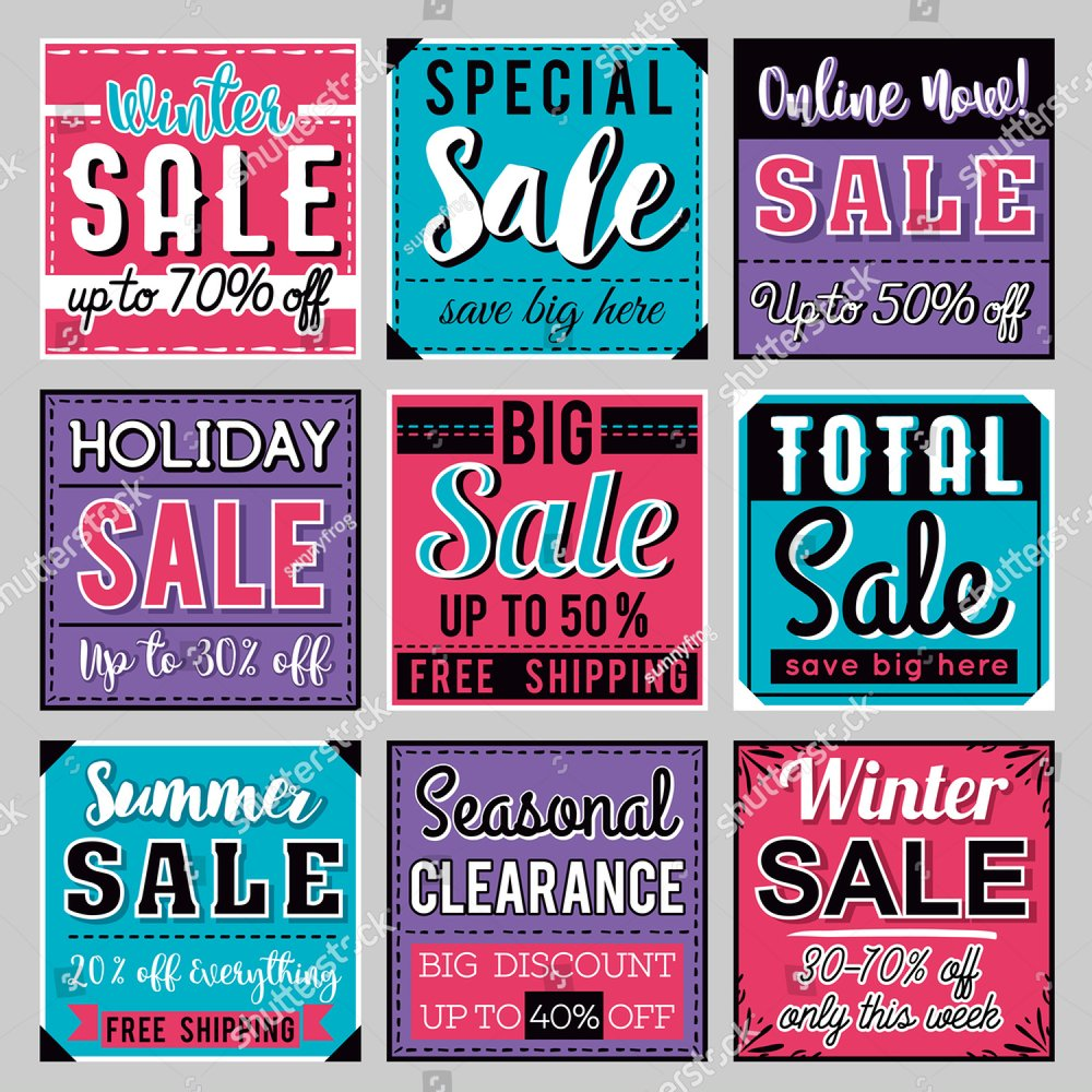 Sale banner templates, posters, email and newsletter designs. Set of season  sale templates | EZ Canvas