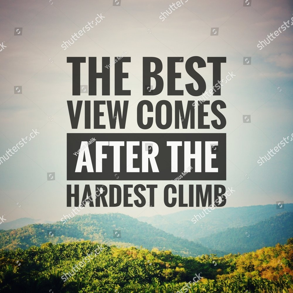 Inspirational motivation quote The best view comes after the hardest climb on nature background.