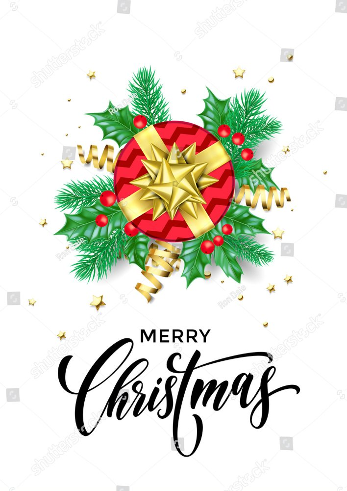 Merry Christmas Greeting Card Of New Year Gift And Golden Decoration