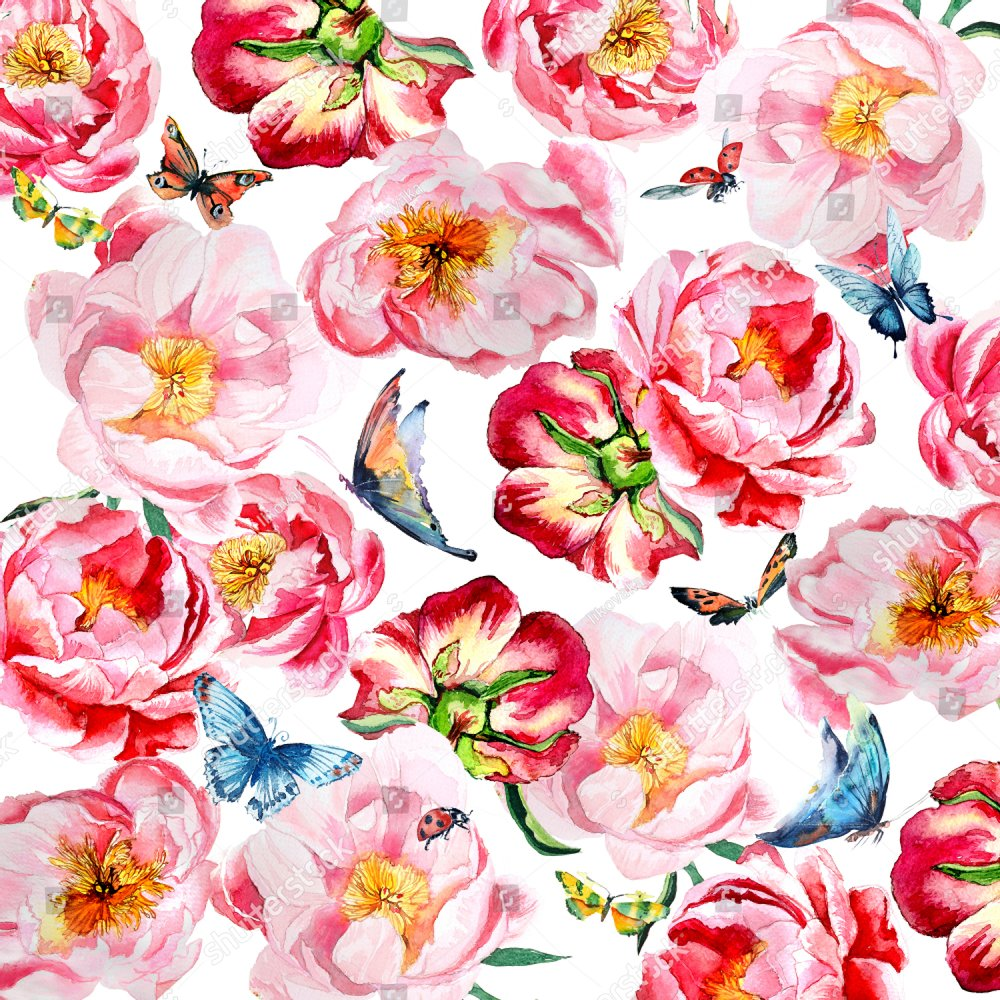 Background of flowers. Pink peonies and butterflies watercolor and ...