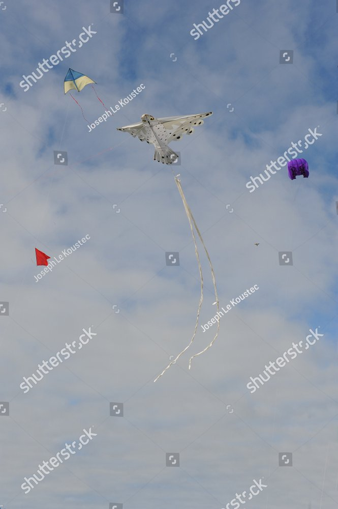 Festival of the wind in Erdeven 2014 in the Morbihan in Brittany. Kites of all colors and shapes, birds, owls, bats, fish and other wind traps rise in the sky to the delight of visitors.