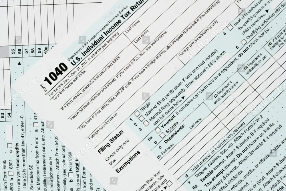 Close Macro Photo Of Usa Irs Tax Form 1040 For Year 2017 Taken From
