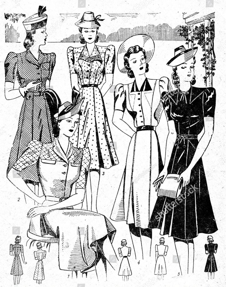 group of people wearing 1910 1940 dress vector illustration ez Men's 1000s Clothing group of people wearing 1910 1940 dress vector illustration ez canvas