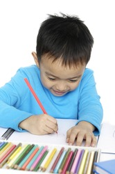 Asian little  kid studying at home
