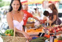 Woman shopping at an outdoor market