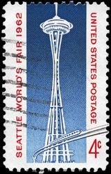 USA - CIRCA 1962: A stamp printed in USA shows Space Needle and Monorail, Seattle World�¢??s Fair Issue, circa 1962