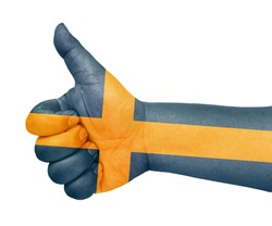 Sweden flag on thumb up gesture like icon