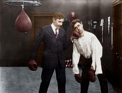 Winner and loser in boxing match
