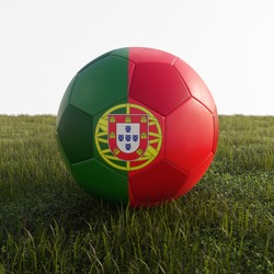 portugal soccer ball isolated on grass