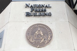 WASHINGTON, DC - NOVEMBER 11, 2017: Plaque for the National Press Club at the National Press Building in Washington, DC.