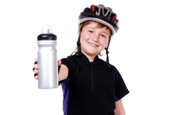 Little cyclist holding a water bottle