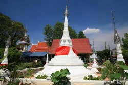 Beautiful white pagodas with garden decoration at wat Bang Chak in Nonthaburi province, Thailand