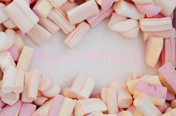 happy birthday marshmallow card background
