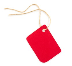 Closeup a red paper tag, label or sticker with rope isolated on white