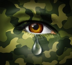 Emotional stress of war as a military hero soldier crying with a sad tear on camouflage painted face representing trauma and mental pain from witnessing loss and traumatic casualties from conflicts.