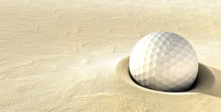 A ball plugged deep in a sand bunker