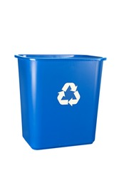 A blue, recycling bin isolated on white. For many uses regarding conservation and the environment.
