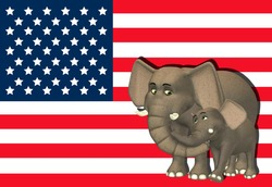 Illustration of a mother elephant with a baby in front of the flag of the united states of america