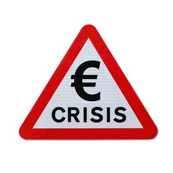 A modified road sign warning of a european economic crisis. Applicable for business or financial concepts. (Isolated on white with clipping path.)