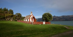 Nice panorama view of Maori church on a sunny day in Akaroa  south island New Zealand