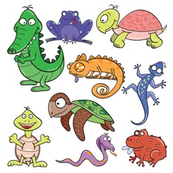 Hand-drawn cute cartoon reptiles and amphibians. Vector illustration.