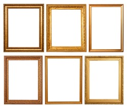 Set of 6 gold frames. Isolated over white background