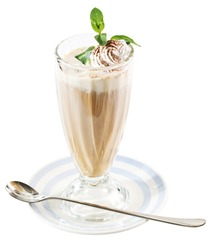 Coffee drinks with cream in glass on white background