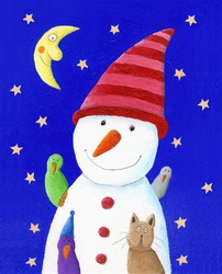 Acrylic illustration of cute Snowman, cat and birds in the night