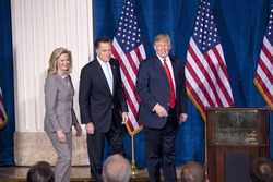 LAS VEGAS - FEB 2: Mitt Romney (M) walks with his wife, Ann Romney, and Donald Trump at Trump's hotel on February 2, 2012 in Las Vegas, Nevada. Trump is endorsing Romney for president.