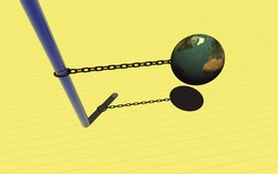 3d Chained Earth on the yellow background with glass shank