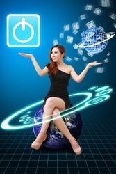 Lady on globe hold the Power icon from app world : Elements of this image furnished by NASA