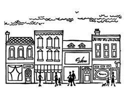 Small Town Main Street - Retro Clipart Illustration