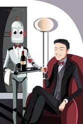A vector illustration of a robot serving a man sitting on a sofa
