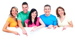 Group of happy people with banner. Isolated on white background.